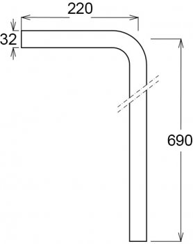 Патрубок GHIDINI DN32 / 22 х 69 см Г-образный PP белый (853)