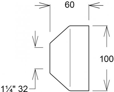 Чашка GHIDINI DN32 х 100 / 60 мм латунь хром (836E)