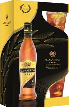 Крепкий алкогольный напиток Alexandrion 5* 0.7 л 37.5% + 2 стакана (5942122020045)