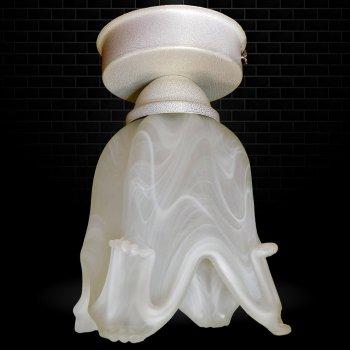 Світильник стельовий Electropark, мінімалізм, стандартний цоколь, білий колір, плафон квітка (LS-0000101)