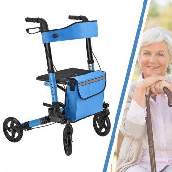 Ролатор Juskys Синий, ходунки на колесах с сидением и сумкой