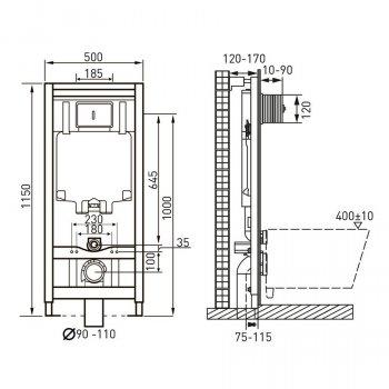Комплект: инсталляция 4в1 + унитаз подвесной Rimless VOLLE ORLANDO 13-35-373+141515