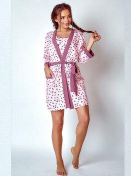 Халат BARWA garments 0215 Бабочки с розовым