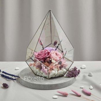 Флораріум «Лавандова ніжність» з живими стабілізованими квітами M