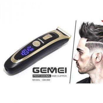 Машинка для стрижки волосся з дисплеєм Gemei Professional Hair Clipper GM-800 Pro професійна аккамуляторная бездротова машинка стрижка до 30 мм чорна