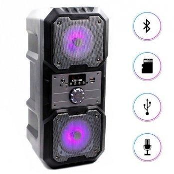 """Портативна бездротова колонка акумуляторна Bluetooth акустична система 2х4"""" з пультом USB FM 2х5 Вт AFG KTS 10480 Premium, чорний, акустика, акустична система, музичний центр, Bluetooth ( блютус), для будинку, дачі, кафе, природи"""