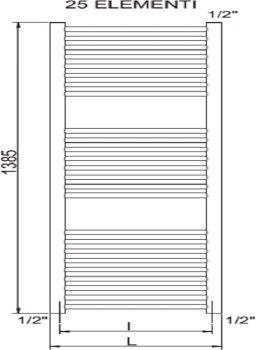 Полотенцесушитель CORDIVARI RDT Lisa 22 1400x450 мм (3551646101009)