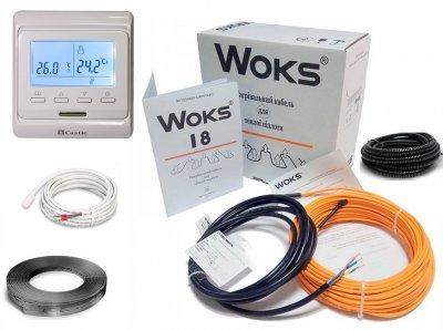 Тепла підлога нагрівальний двожильний кабель під плитку Woks 18Вт/м 8,4-10,5м2/1490Вт (84м) в комплекті з програмованим терморегулятором та датчиком температури підлоги