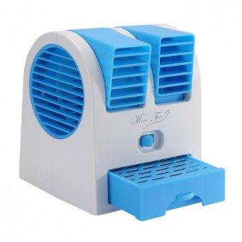 Настольный портативный вентилятор-кондиционер USB HB-168 +ароматизированные шарики Синий (Т43)