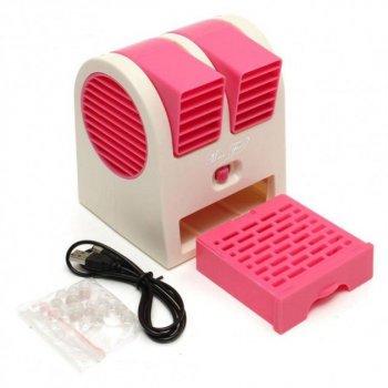 Настольный портативный вентилятор-кондиционер USB HB-168 Розовый (Т43-4)
