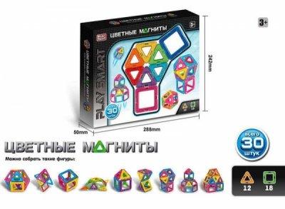 Магнитный конструктор Play Smart цветные магниты, 30 деталей