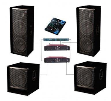 Потужний комплект концертної професійної акустика Sound Division DJ-215&Bass 4000 Вт