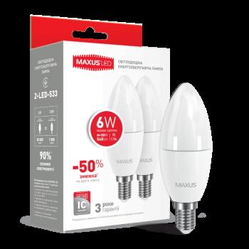 Світлодіодна лампа Maxus C37 Cl-F 6W 3000K 220V E14 (2-Led-533-02) (Набір 2 Шт)