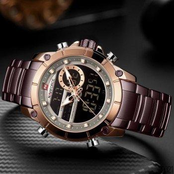 Наручний годинник AlexMosh чоловічі Naviforce NF9163 Brown-Cuprum (36)