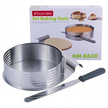 Форма-слайсер Kamille для випікання регульована 24,5 - 30 см з ножем і підносом