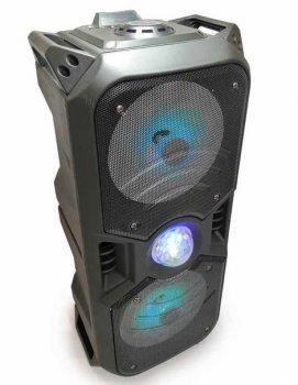 """Портативная Bluetooth колонка с микрофоном акустическая система 2х6.5"""" 50Вт встроенная светомузыка и FM радио KTS-1042 черная"""