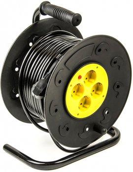 Подовжувач на котушці PowerPlant 40 м, 2x1.0мм2, 8А, 4 розетки (JY-2000/40)