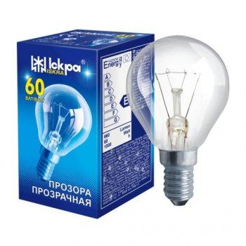 Лампа накаливания ЛЗП Іскра PS45 230B 60Вт Е14 прозрачная (Шар)