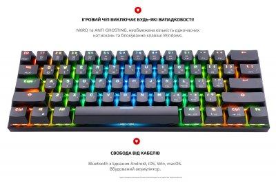 Клавіатура бездротова, дротова Motospeed CK62, RGB, BT, USB Black ENG, UKR, RUS Outemu Blue (mtck62bmb)