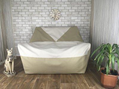 """Кресло груша """"Elegant"""" Диван Эко кожа бежевый + белый 140 см х 100 см"""
