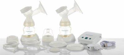 Подвійний електронний молоковідсмоктувач Mamajoo з пляшками серії Gold 150 мл + 250 мл (8697767122858)