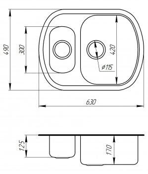 Кухонна мийка ULA 7703 U Micro Decor ULA7703DEC08