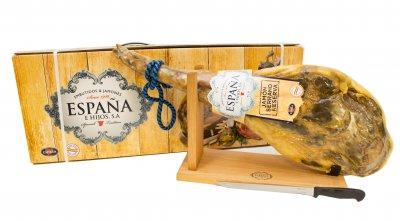 Хамон Espana Серрано Резерва на кістці в подарунковій упаковці + хамонера + ніж, 14 місяців витримки 6.5 кг (8428204004501)