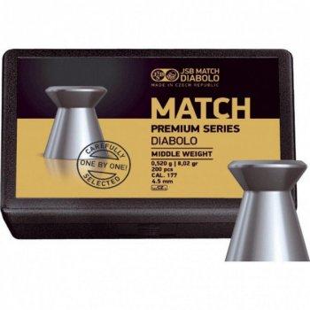 Пули пневм JSB Match Premium HW, 4,49 мм , 0,535 г, 200 шт/уп