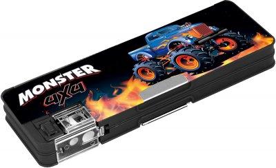Пенал пластиковый на магните Cool For School Monster 7012 с точилкой 2 отделения Черный (CF86612)