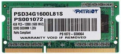 Оперативна пам'ять Patriot DDR3L SL 4GB 1600 MHz CL11 SODIMM (PSD34G1600L81S)