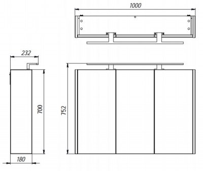 Зеркальный шкаф BOTTICELLI Vanessa VNMC-100 темная дыня