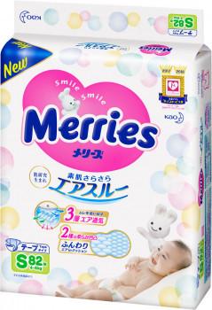 Японские подгузники Merries (Мерриес) S (4-8кг) 82шт