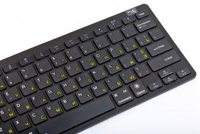 Бездротова клавіатура Bluetooth HQ-Tech KB-105BT Black Bluetooth 3.0 3-в-1 Win/Android/iOS Rus/Ukr/Eng міні на батарейках