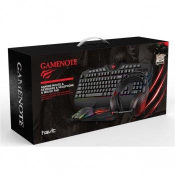 Ігровий набір геймера 4 in 1 COMBO HAVIT HV-KB501CM з оптимізованими під ігри навушниками, клавіатурою, мишкою і килимком (25538)