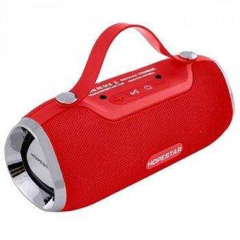 Портативна блютуз колонка Speaker Hopestar H40 WS Pro Червона 10 ВТ бездротова музична акустика з флешкою і радіо, Bluetooth 4.2 (47030 I)