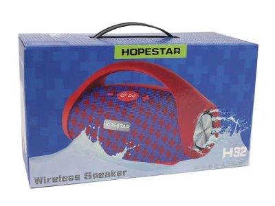 Портативна блютуз колонка Speaker Hopestar H32 WS Червоний з синім 10 ВТ бездротова з флешкою радіо і хорошим стерео звуком Bluetooth 4.2 вологозахист USB (47575 I)