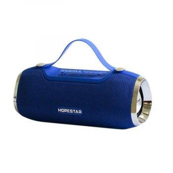 Портативна блютуз колонка Speaker Hopestar H40 WS Pro Синя 10 ВТ бездротова музична акустика з радіо флешкою і вологозахист Bluetooth 4.2 (47029 I)