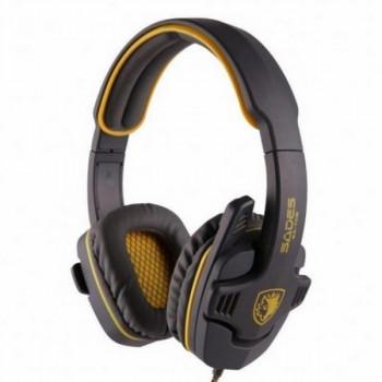 Навушники накладні провідні з мікрофоном Sades SA-708 Stereo Gaming Headphone/Headset with Microphone Grey/Yellow (SA708-G