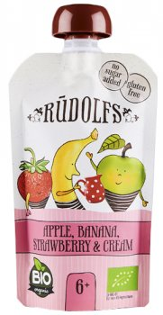 Фруктово-ягідне органічне пюре Rudolfs Смузі яблуко, банан і полуниця з вершками 110 г (4751017940945)
