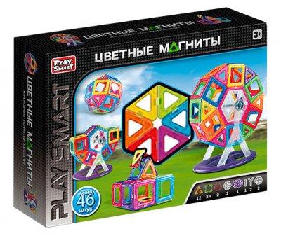 Магнитный конструктор Play Smart цветные магниты, 46 деталей