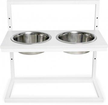 Підставка на дві миски для собак і кішок з регульованою висотою Harley and Cho L 1.8 л White Stone/White (3300173)