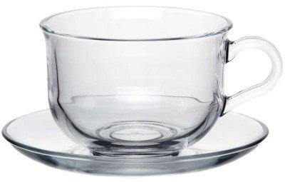 Чайный стеклянный набор Pasabahce Tashkent 2 чашки 290мл с блюдцами (psg_PB-96806)