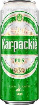 Упаковка пива Karpackie Pils светлое фильтрованное 4% 0.5 л х 24 шт (5900535000689G)