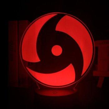 Настільний світильник-нічник Знак Мангеко Ширинган Ітачі Naruto настільна 3D Лампа 16 Кольорів (USB 7929)