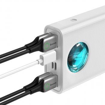 УМБ Baseus Amblight 30000mAh 65W 6A з технологією QC3.0+PD3.0 + кабель Baseus Xiaobai series Type-C to Type-C 100W 20V/5A 1м Білий