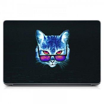 """Универсальная наклейка на ноутбук 15.6""""-13.3"""" 380х250 мм Кот в очках Матовая"""