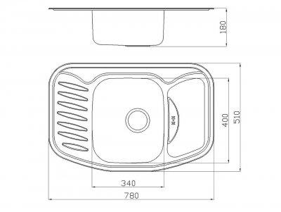 Кухонна мийка врізна з нержавіючої сталі Platinum 7851 Сатин 0.8