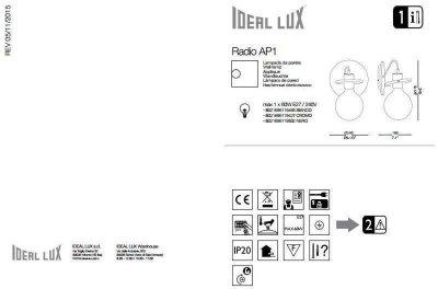 Бра Ideal Lux RADIO AP1 NERO (119502)