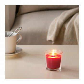 Ароматична свічка в склянці IKEA (ІКЕА) SINNLIG 7.5 см ягоди червона (403.373.97)
