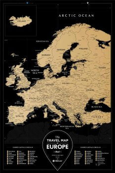 Скретч-карта 1DEA.me Travel Map Black Europe (BE)
